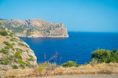 Beautiful view of Mallorca balearic islands, in a beautiful blue sky Spain.  Stock Photos