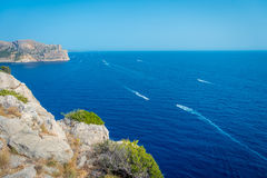 Beautiful view of Mallorca balearic islands, in a beautiful blue sky Spain.  Stock Photography