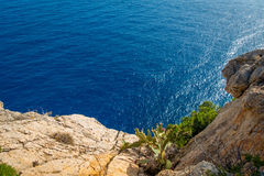 Beautiful view of Mallorca balearic islands, in a beautiful blue sky Spain.  Royalty Free Stock Images