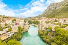 Beautiful view of the medieval town of Mostar from the Old Bridge in Bosnia and Herzegovina. On a sunny day Royalty Free Stock Photo