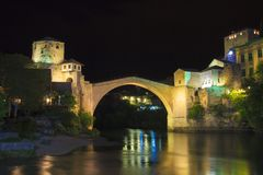 Beautiful view of the medieval town of Mostar from the Old Bridge in Bosnia and Herzegovina. On a sunny day Stock Photo