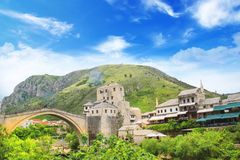 Beautiful view of the medieval town of Mostar from the Old Bridge in Bosnia and Herzegovina Royalty Free Stock Image