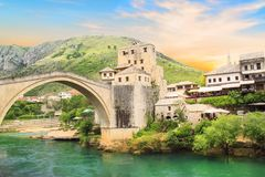 Beautiful view of the medieval town of Mostar from the Old Bridge in Bosnia and Herzegovina Royalty Free Stock Photos