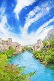 Beautiful view of the medieval town of Mostar from the Old Bridge in Bosnia and Herzegovina Stock Image
