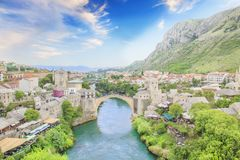 Beautiful view of the medieval town of Mostar from the Old Bridge in Bosnia and Herzegovina. On a sunny day Stock Photography