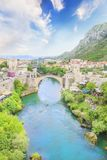 Beautiful view of the medieval town of Mostar from the Old Bridge in Bosnia and Herzegovina. On a sunny day Stock Image