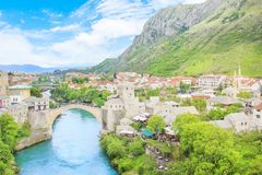 Beautiful view of the medieval town of Mostar from the Old Bridge in Bosnia and Herzegovina. On a sunny day Royalty Free Stock Photography