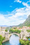 Beautiful view of the medieval town of Mostar from the Old Bridge in Bosnia and Herzegovina. On a sunny day Stock Images