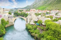 Beautiful view of the medieval town of Mostar from the Old Bridge in Bosnia and Herzegovina. On a sunny day Royalty Free Stock Image
