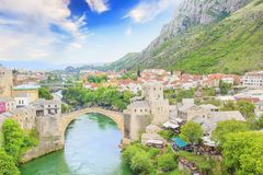 Beautiful view of the medieval town of Mostar from the Old Bridge in Bosnia and Herzegovina. On a sunny day Royalty Free Stock Images