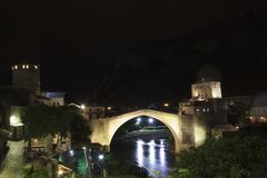 Beautiful view of the medieval town of Mostar from the Old Bridge in Bosnia and Herzegovina. On a sunny day Stock Photos