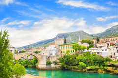 Beautiful view of the medieval town of Mostar from the Old Bridge in Bosnia and Herzegovina Stock Photo