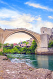 Beautiful view of the medieval town of Mostar from the Old Bridge in Bosnia and Herzegovina Stock Images
