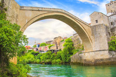 Beautiful view of the medieval town of Mostar from the Old Bridge in Bosnia and Herzegovina Royalty Free Stock Photo