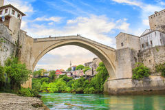 Beautiful view of the medieval town of Mostar from the Old Bridge in Bosnia and Herzegovina Royalty Free Stock Images