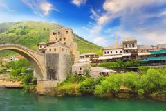 Beautiful view of the medieval town of Mostar from the Old Bridge in Bosnia and Herzegovina Royalty Free Stock Photography