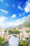 Beautiful view of the medieval town of Mostar from the Old Bridge in Bosnia and Herzegovina. On a sunny day Royalty Free Stock Photos