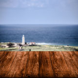 Beautiful view of the Mediterranean Sea over old dark wooden tab Royalty Free Stock Photography