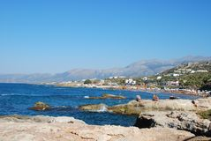 Beautiful view of the Mediterranean Sea and rocky shore under the blue sky royalty free stock images