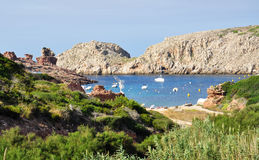 Beautiful view of Menorca island beach - amazing trip to Balearic island in Spain. Wild beaches and lagoons Stock Photos