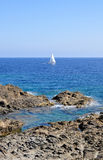 Beautiful view of Menorca island beach - amazing trip to Balearic island in Spain. Wild beaches and lagoons Royalty Free Stock Photography