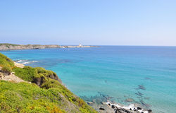 Beautiful view of Menorca island beach - amazing trip to Balearic island in Spain. Wild beaches and lagoons Stock Images