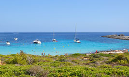 Beautiful view of Menorca island beach - amazing trip to Balearic island in Spain. Wild beaches and lagoons Royalty Free Stock Photos