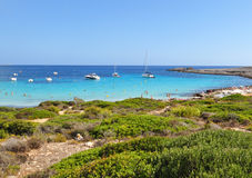 Beautiful view of Menorca island beach - amazing trip to Balearic island in Spain. Wild beaches and lagoons Royalty Free Stock Image