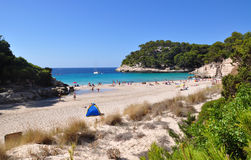 Beautiful view of Menorca island beach - amazing trip to Balearic island in Spain. Wild beaches and lagoons Stock Image