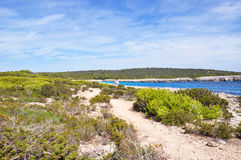Beautiful view of Menorca island beach - amazing trip to Balearic island in Spain. Wild beaches and lagoons Royalty Free Stock Photo