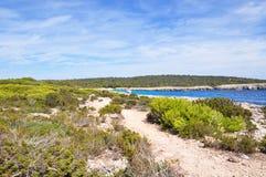 Beautiful view of Menorca island beach - amazing trip to Balearic island in Spain Royalty Free Stock Photo