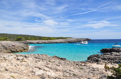 Beautiful view of Menorca island beach - amazing trip to Balearic island in Spain. Wild beaches and lagoons Stock Photography