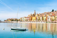 Beautiful view on Menton town on french riviera, cote d`azur, south France. Luxury resort Menton on french riviera Royalty Free Stock Images