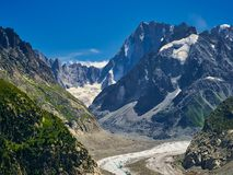 Beautiful View Of Mer De Glace Glacier - Mont Blanc Massif, Chamonix, France. Beautiful View Of Mer De Glace Glacier - Mont Blanc Massif, Chamonix - Francen Stock Image
