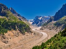 Beautiful View Of Mer De Glace Glacier - Mont Blanc Massif, Chamonix, France. Beautiful View Of Mer De Glace Glacier - Mont Blanc Massif, Chamonix - Francen Royalty Free Stock Photo
