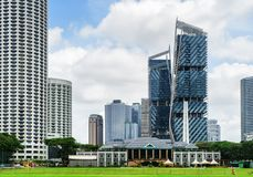 Beautiful view of modern buildings in downtown of Singapore. Scenic view of skyscrapers and other modern buildings in downtown of Singapore on blue sky stock photos