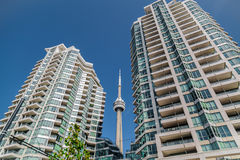 Beautiful view of modern inviting condo buildings with CN tower between against deep blue sky background Stock Photos