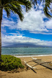 Beautiful view of Molokai Island from Kaanapali Beach, Maui. Hawaii royalty free stock photography