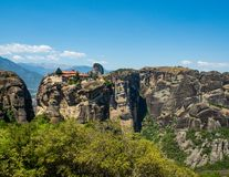 Beautiful view of the monastery of the Holy Trinity and its surrounding mountains in the region of Meteora, Greece royalty free stock image