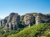 Beautiful view of the monastery Megala Meteora and its surrounding mountains in the region of Meteora, Greece royalty free stock photo