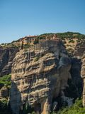 Beautiful view of the monastery Megala Meteora and its surrounding mountains in the region of Meteora, Greece stock photos