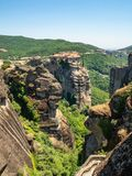 Beautiful view of the monastery Megala Meteora and its surrounding mountains in the region of Meteora, Greece royalty free stock images