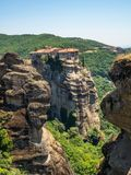 Beautiful view of the monastery Megala Meteora and its surrounding mountains in the region of Meteora, Greece royalty free stock photography