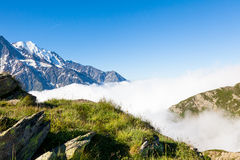 A beautiful view of the Mont Blanc in Chamonix in France Royalty Free Stock Photography