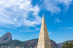 Beautiful panoramic view of the Sugar Loaf mountain in Rio de Janeiro, Brazil, on a beautiful and relaxing sunny day with blue sky royalty free stock photo