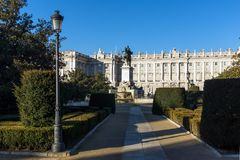 Beautiful view of Monument to Felipe IV and the Royal Palace of Madrid, Spain Stock Photo