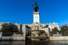 Beautiful view of Monument to Felipe IV and the Royal Palace of Madrid, Spain Royalty Free Stock Image