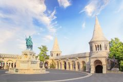 Beautiful view of the Monument to St. Istvan on the Buda Hill near the Fishermen`s Bastion in Budapest, Hungary. On a sunny day royalty free stock images