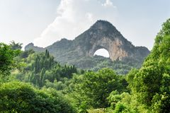Beautiful view of Moon Hill and green woods at Yangshuo stock image