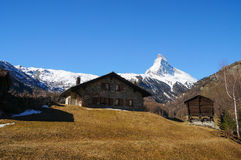 Beautiful view in the morning in Zermatt Stock Photo